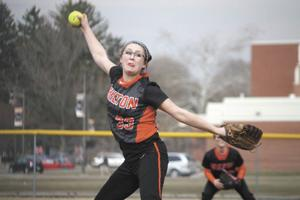 <p>Milton sophomore pitcher Kylie Brouse prepares to release a pitch during a game this season. Brouse was named to the Heartland Athletic Conference Division I first team.</p>