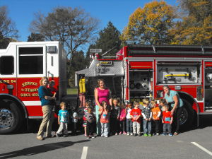 Volunteer fire department visits Presbyterian Preschool