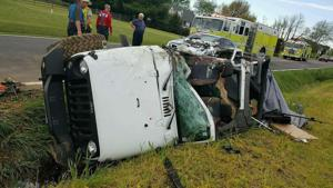 Jeep Wrangler overturns in Church Hill