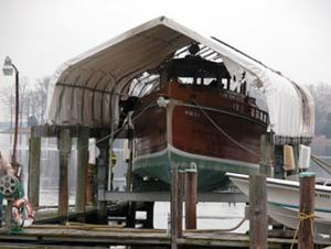 Wooden boat damaged in fire
