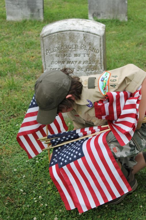 Troop 464 honors deceased veterans queen annes county for Proper placement of american flag