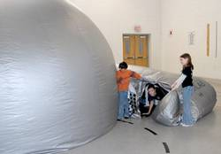 Mobile planetarium visits school