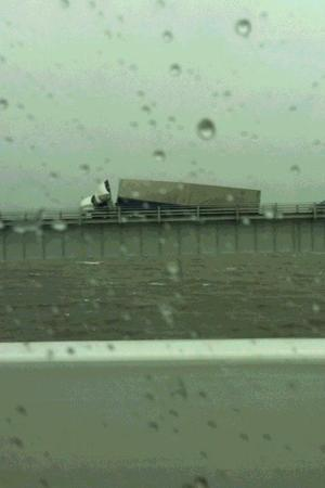 Tractor-trailer tips on Bay Bridge