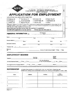NTC Employment Application