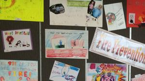 <p>Artwork from Allen elementary students done during the Fire Prevention Week art contest will be on display throughout this month at the Allen Public Library.</p>