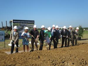 <p>McKinney city officials break ground on the new aquatic and fitness center on Monday morning at Gabe Nesbitt Community Park. The $34.5 million facility is expected to open late next year.</p>