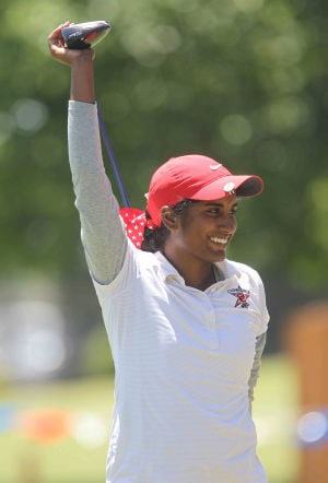 <p>Coppell's Chaithra Katamneni fired a score of 147 to finish in a tie for sixth Tuesday at the Class 5A State Championships at Onion Creek Golf Course in Austin. </p>