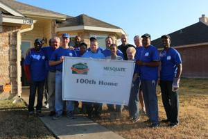 <p>City officials and volunteers from <span>Gospel Tabernacle Church were on-hand Saturday to celebrate the 100th home of the day to be worked on as part of this year's Addressing Mesquite Day. The home is owned by U.S. Army veteran and reservist Sherica Redrick.</span></p>