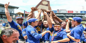 <p>Sunnyvale players celebrate after winning the Class 2A state championship at Dell Diamond in Round Rock.</p>