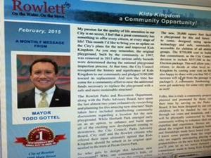 """<p>The February Monthly Mayor's Message is now available at<a href=""""http://www.rowlett.com/MayorsMessage"""" target=""""_blank"""">www.rowlett.com/MayorsMessage</a>.Get an update on the Kids Kingdom plans and read about opportunities to assist with the rebuilding efforts for this beloved community playground.</p>"""