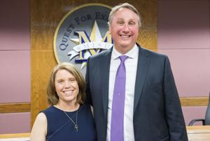 <p><span>David Vroonland, right, poses with his wife Joy following the announcement by the Mesquite ISD school board, naming him the lone finalist to be the district's next superintendent.<span>Vroonland is currently the superintendent for Frenship ISD.</span></span></p>