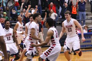 <p>Allen senior Olin Carter (3) scored 19 points, including the game winner, in the Eagles' 57-55 bi-district win over Northwest Byron Nelson Wednesday night. </p>