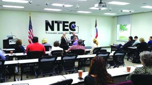 <p>Former Mayor Bob Warren and Sam Roach discuss the history of Frisco economic development. NTEC, a business incubator and accelerator in the city, host the Frisco Economic Development Corporation for its Leadership Frisco Day.</p><p>- Photo Courtesy of NTEC Facebook Page</p>