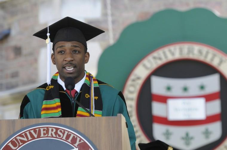 Alexander Stanley Cooper speaks during Washington University's 151st Commencement