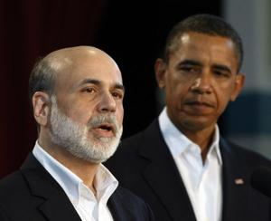 Ben Bernanke, chairman of the Federal Reserve, with President Obama