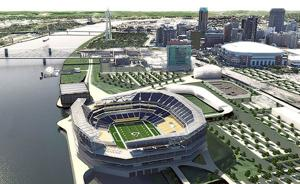 <p>HOK's rendering of an open-air NFL stadium project on the North Riverfront of downtown St. Louis that could be the new home for the Rams, or whatever team plays here in the future, if any.</p>