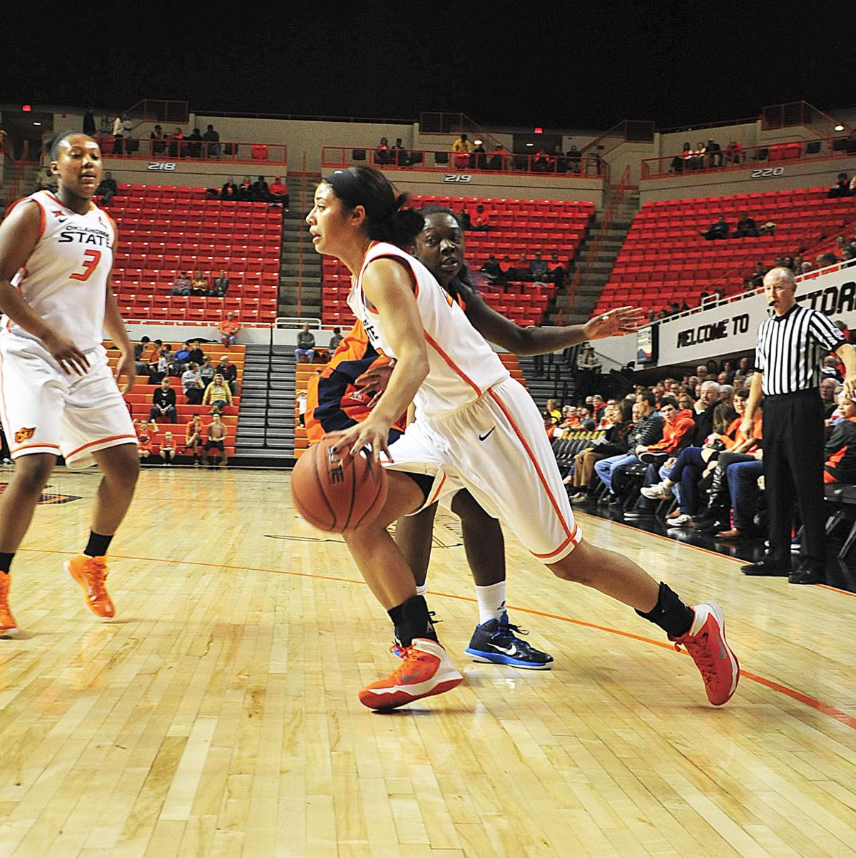 oklahoma state women s basketball overcomes slow start to stomp brittney martin drive