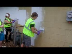 ICTC criminal justice students clean graffiti