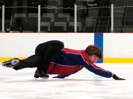 """Jacob Nussle demonstrates """"hydroblading"""" during his warm up at the Hartland Sports Center."""