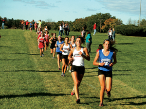 (Front to back) Linden's Aleighsha Engisch, Kailee Corcoran and Dominique Scripter were scorers for the Eagles in their first-place jamboree performance on Wednesday.