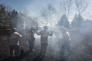The aftermath of a brush fire is an eerie, steaming landscape.