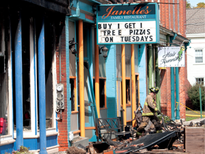 Janelle's Family Restaurant and Tower Hardware have been destroyed by fire, which started early Monday morning, in downtown Byron.