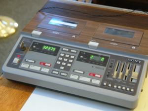 The Holly Township Board of Trustees uses this cassette recorder to record meetings. Cassettes are recorded over once the minutes are transcribed.