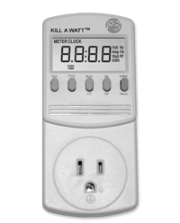 """Devices like  the """"Kill A  Watt"""" can  save homeowners money by showing them what they pay in standby wattage use."""