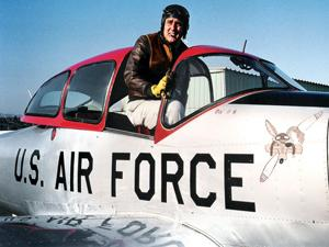 Jason Vosburgh sits in his Navion airplane that was originally built in 1946. Vosburgh has owned the plane for 12 years and has flown it in air shows