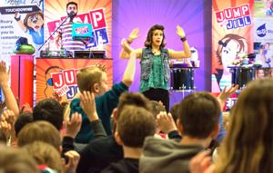 School assemblies today — high tech, high energy