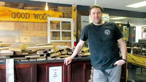 Aaron Mohr, owner of Good Wood Reclaimed Furniture, feels right at home in downtown Holly.