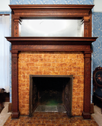 This fireplace is on the second floor. Each of the seven fireplaces is decorated differently.