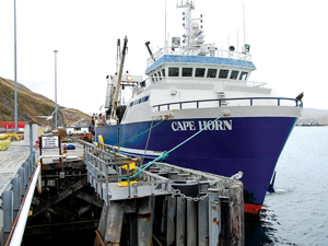 Vanderlip works on five different commercial fishing boats. This one is docked at Dutch Harbor.