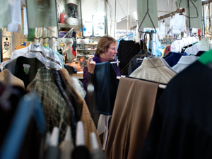 On her day off, co-owner Candy Moleski matches orders at Dixie Cleaners on Wednesday.