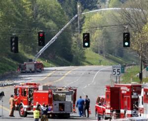 Firefighters extinguish derailment blaze near Scappoose