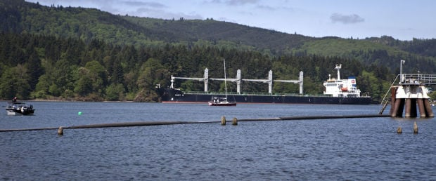The 623-foot Mary H anchored across the Columbia River from the Kalama Export grain terminal at the Port of Kalama on Tuesday morning after protestors blocked its path to the port.
