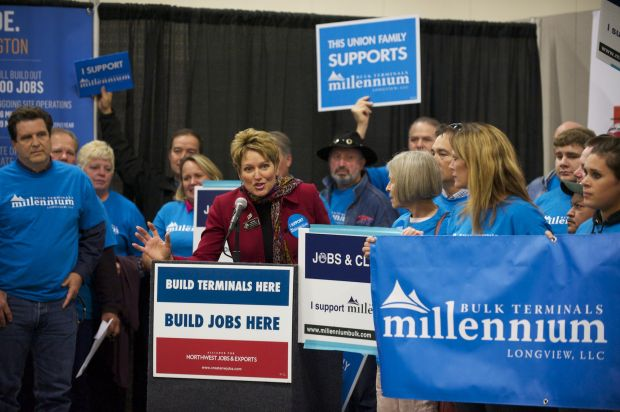 Rep. Liz Pike (R-18) speaks in favor of coal exports during a rally before the Millennium Bulk Terminals Longview Environmental Impact Statement Scoping meeting held at the Clark County Fairgrounds Event Center Wednesday,