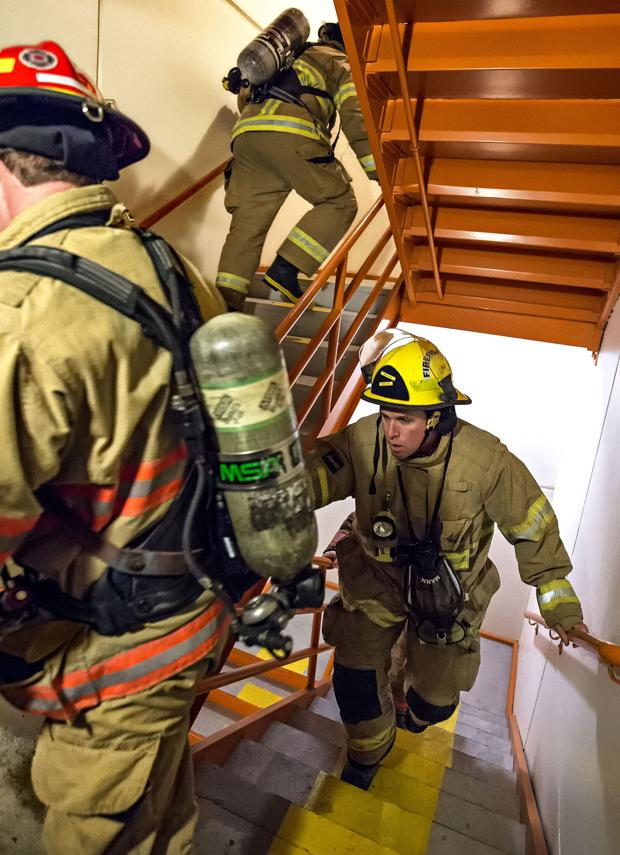 Longview firefighters practice for Scott Firefighter Stairclimb, raise money for blood cancer research