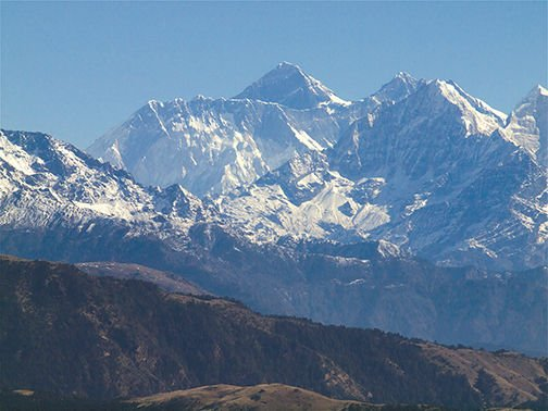 A view of Mount Everest from the helicopter flight into the village of Rahka.