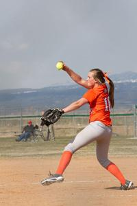 <p>Jenna Abbott winds up for a pitch in a game this season in Driggs.</p>