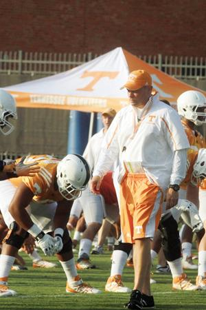Butch Jones during football practice