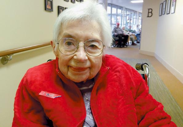 <p>Helen Webb smiles after casting her absentee ballot in the presidential primary while residing at Asbury Place in Maryville. She is 103.</p>