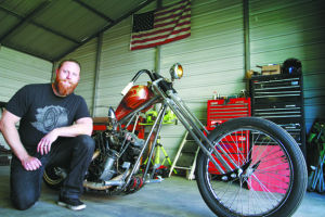 Matt Harris with a 1982 Harley-Davidson