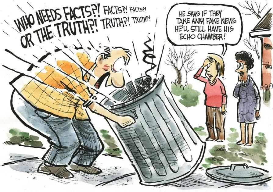 Jeff Koterba Cartoon Echo Chamber Fake News Cartoons