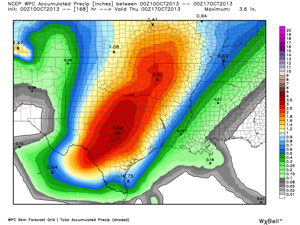 Rainfall total forecast for the next 7 days