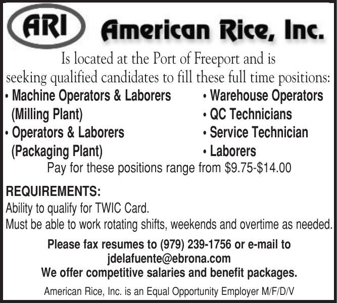 American Rice Has Positions Availalbe