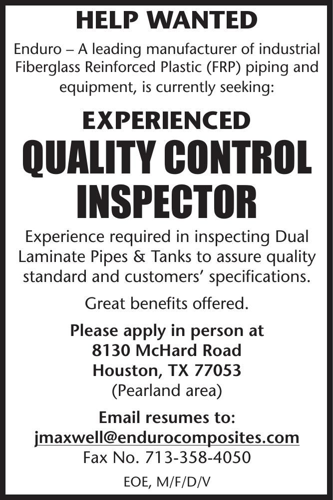 Quality Control Inspector Wanted Enduro
