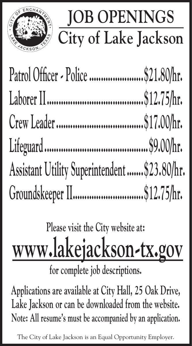 City of Lake Jackson Has Job Openings