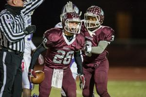 <p>Columbia's Jarron Freeman celebrates a fumble recovery while being congratulated by Zedrik White during the 2nd quarter as the Roughnecks played the Wheatley Wildcats during Friday's playoff game at Griggs Field.</p>