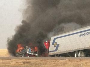 Fiery I-80 crash Thursday at Giltner